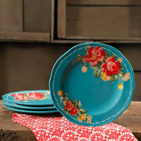 The Pioneer Woman Vintage Floral Teal 8 5 Quot Salad Plate Set