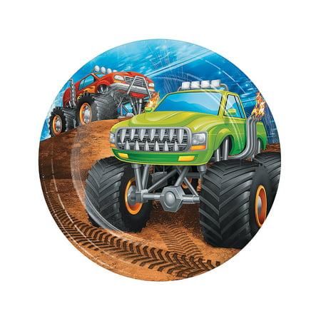 Personalized Birthday Plates And Napkins (Fun Express - Monster Truck Party Lunch Plate for Birthday - Party Supplies - Licensed Tableware - Licensed Napkins - Birthday - 8)
