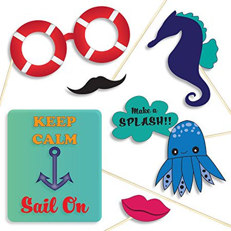 nautical theme photo booth props diy decorations kit banners signs sailor hats