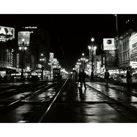 New Orleans Canal Street - 1950s Night Scene Canal Street New Orleans Louisiana Usa Poster Print By Vintage Collection