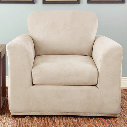 Marvelous Sure Fit Stretch Suede 2 Piece Chair Slipcover