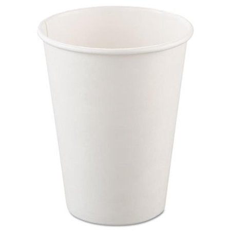 Single-Sided Poly Paper Hot Cups, 12oz, White, 50/Bag, 20 Bags/Carton - 12oz In Cups