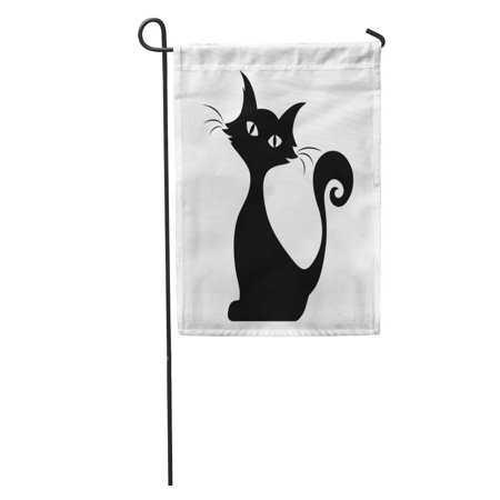 SIDONKU Halloween Black Silhouette of Sitting Cat Graphic Tail Outline Stencil Garden Flag Decorative Flag House Banner 28x40 inch - Silhouette Cat Halloween