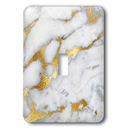 3dRose Image of Luxury Grey Gold Gem Stone Marble Glitter Metallic Faux Print - Single Toggle Switch