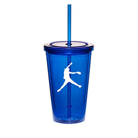 16oz Double Wall Acrylic Tumbler Cup With Straw Female Softball Pitcher