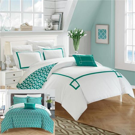 (Chic Home DS2956-BIB-US 8 Piece Reilly Contemporary Greek Key Embroidered Reversible King Bed in a Bag Duvet Set, Aqua with Sheet Set)