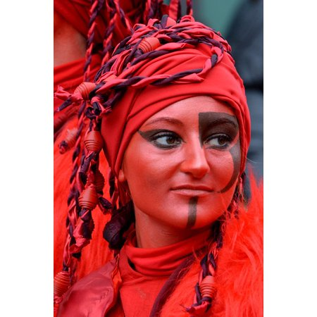 Carnival Dresses Ideas (LAMINATED POSTER Woman Decoration Carnival Face Paint Red Dress Up Poster Print 24 x)