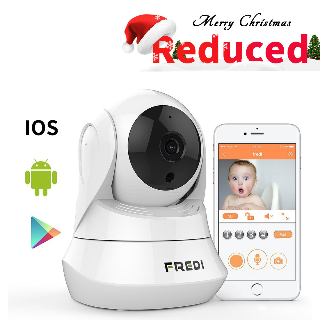 FREDI Day&Night Night Vision WiFi Camera with Remote Viewing Indoor Pan/Tilt Security IP Camera Baby Monitor Plug & Play, 2-Way Audio (White)