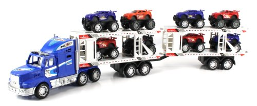 Power Speed Race Trailer Friction Powered Toy Truck w  Trailer, 8 Toy Cars (Colors May... by Velocity Toys