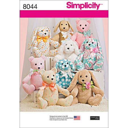 Simplicity One Size Stuffed Animal Pattern, 1 Each