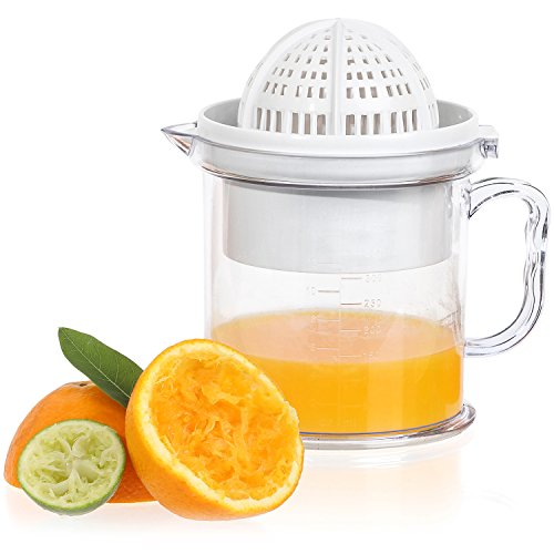 Jumbl 2-in-1 Citrus Juicer & Manual Berry Fruit Press Squeezer – Bowl Doubles as a Serving Cup w/ a Handle & Measuring Markings