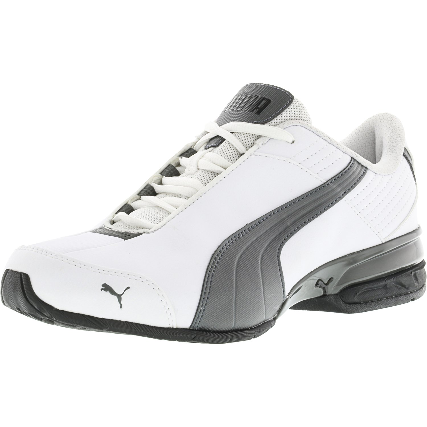 Puma Men's Super Elevate White / Pewter Black Low Top Leather Running Shoe - 8.5M