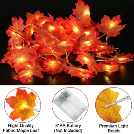 10/20/30/50 LED Fall Maple Leaf Lights 12 Feet Fall Garland Decorations Lights 2AA Battery Operated for Party Thanksgiving Festival Minuteman Maple Leaf
