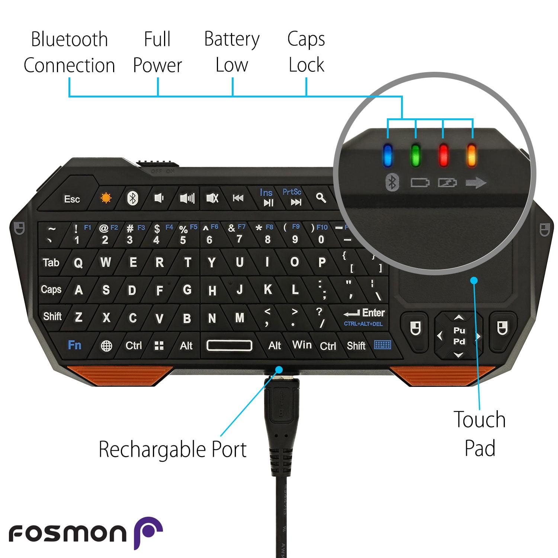 fosa Portable Mini 78-Key Keyboard,Wireless Bluetooth 3.0 Spanish Keyboard Touchpad for Apple//Microsoft//Android