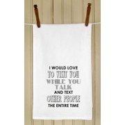"Set of 4 Retro Style Sentiment ""Love to Visit"" Flour Sack Kitchen Hand Towels 29"""