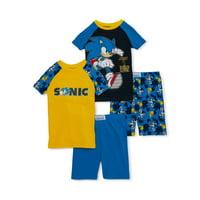 Sonic the Hedgehog Boys 4-10 Cotton Short Set, 4-Piece Pajama Set