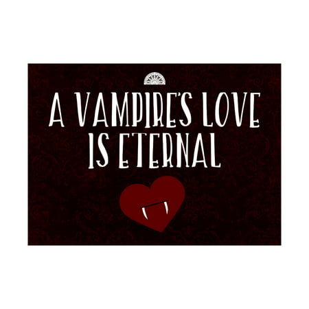 A Vampire's Love Is Eternal Print Heart With Fangs Picture Fun Scary Humor Halloween Seasonal Decoration Sign](Scary Happy Halloween Sign)