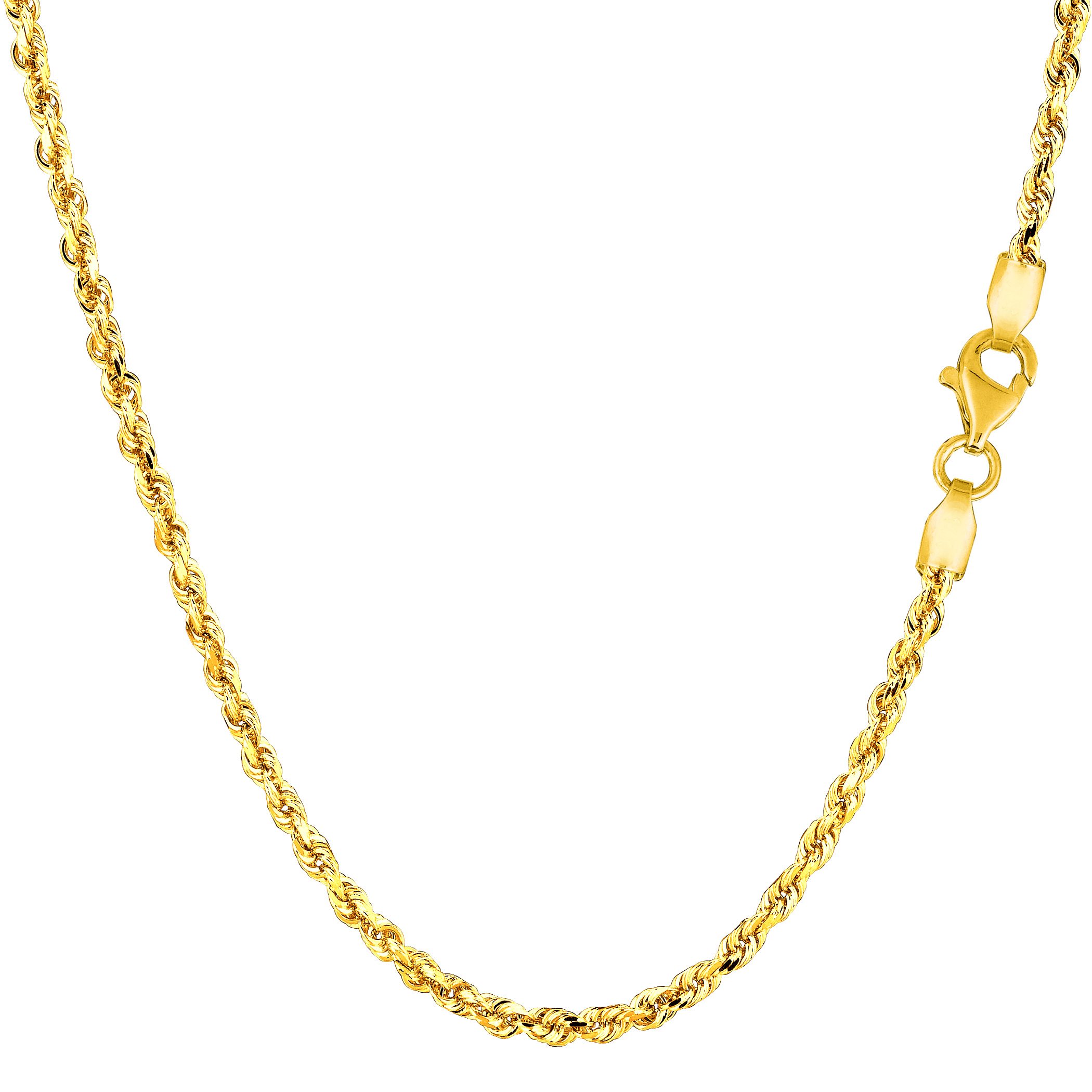 "14k Yellow Solid Gold Diamond Cut Rope Chain Necklace, 2.25mm, 22"" - image 1 de 1"