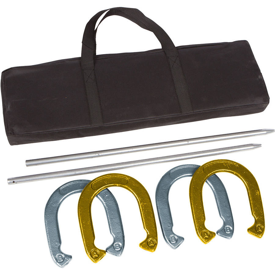 Trademark Innovations Pro Horseshoe Set, Gold and Silver Powder Coated Steel by Riga Gold