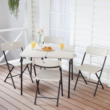Mainstays 5 Piece Card Table and Four Chairs Set, Gray Pumice