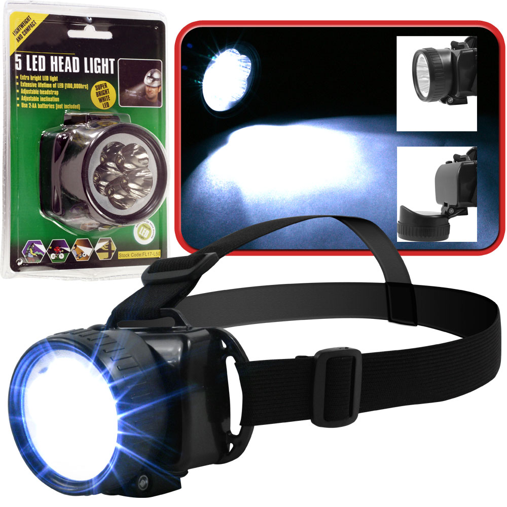 5 LED Headlamp Flashlight Work Light with Adjustable Strap by Stalwart