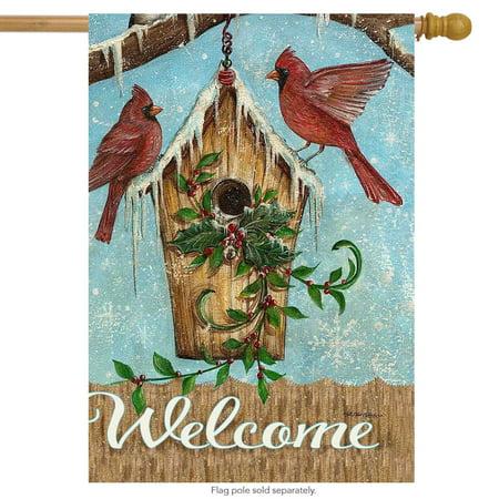 Birdhouse Flag (snow birds winter house flag welcome cardinals birdhouse 28