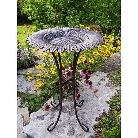 Sunflower Bird Bath On Tower Base  Antique Bronze