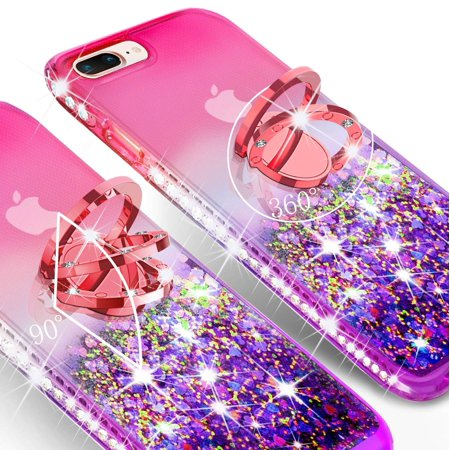 iPhone 7 Case, iPhone 8 Case, Liquid Floating Quicksand Glitter Phone Case Girls Kickstand,Bling Diamond Bumper Ring Stand Protective Pink iPhone 7/8 Case for Girl Women, Hot Pink - image 3 of 5