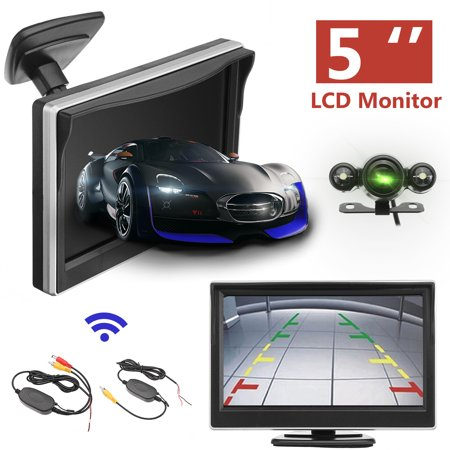 5inch LCD Wireless Car Rear View Backup Monitor with Sensor Parking LED  Night Vision Camera Kit