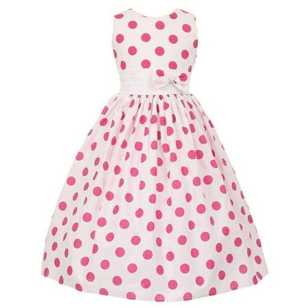 Little Girls White Fuchsia Polka Dots Poly Cotton Spring Dress 6 Dot Spring Dress