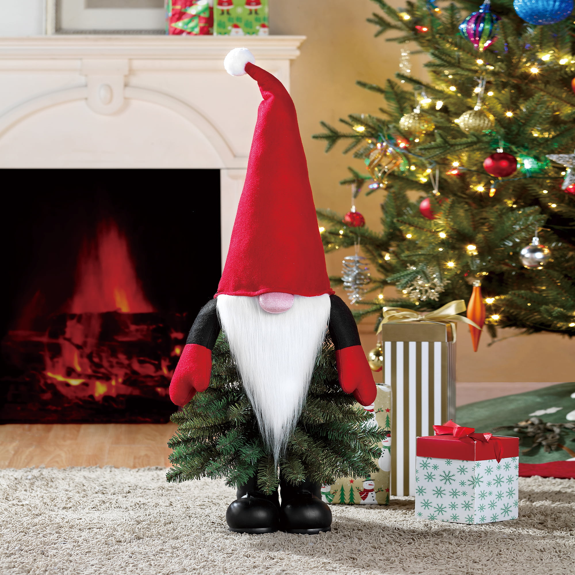 Holiday Time Unlit Gnome Christmas Tree 3 Ft Multicolor Walmart Com Walmart Com