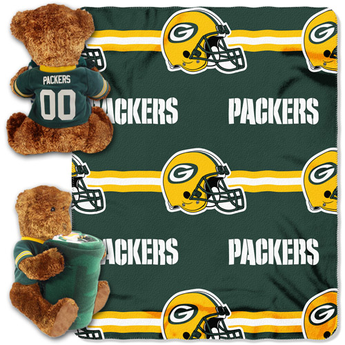NFL Green Bay Packers Bear Throw/Pillow Combo