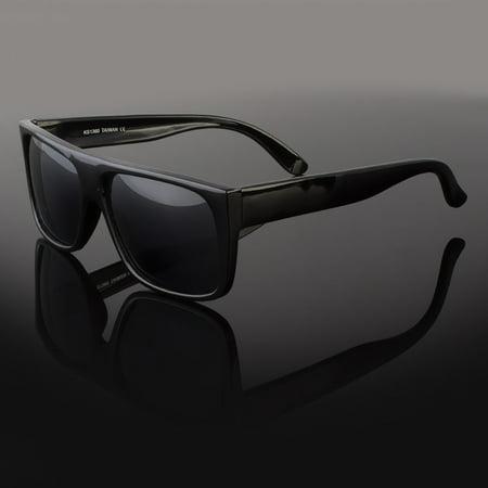 Mens Celebrity Eyewear Flat Top Rectangular Sunglasses Black Lens Frame (Mens Celebrity Fashion)