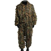 Super Natural Camouflage Leafy Hunting Suit, 3D Leafy Ghillie Suit, Lightweight, Breathable Woodland Camouflage Clothing, Military Clothes and Pants for Jungle Hunting, Airsoft, Wildlife Photography