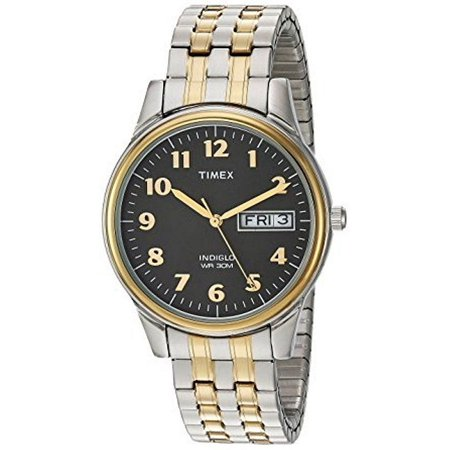 Timex Men's Charles Street Two-Tone Extra-Long Stainless Steel Expansion Band Watch