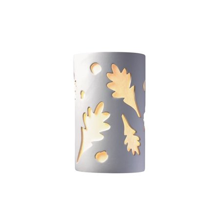 Justice Design  Group Ambiance Bisque Outdoor Large Oak Leaves Wall Sconce