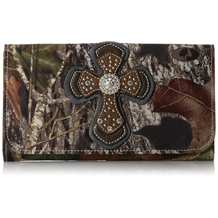 blazin roxx n75196222 bailey flip over cross overlay mossy wallet, multi-colored ()
