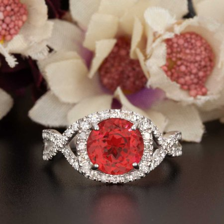 Art Deco 1.25 Carat Round Cut Real Ruby and Diamond Engagement Ring in 18k Gold Over Sterling Silver Art Deco Engagement Ring Settings