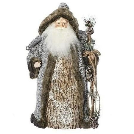SANTA CLAUS WITH PINE STAFF Christmas Tree Topper, by - Santa Christmas Tree Topper