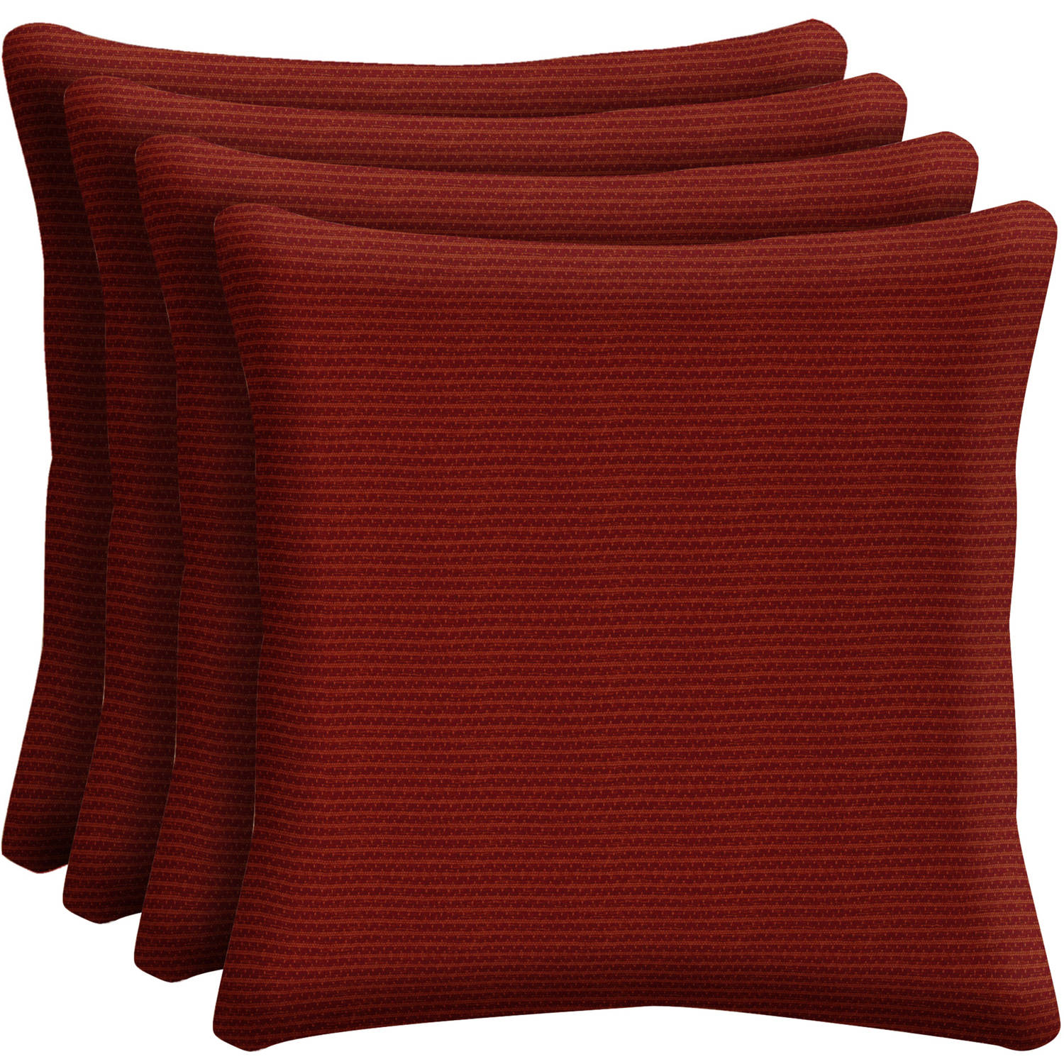 "Arden Outdoors Red Rib Woven 16"" Square Toss Pillow, Set of 4"