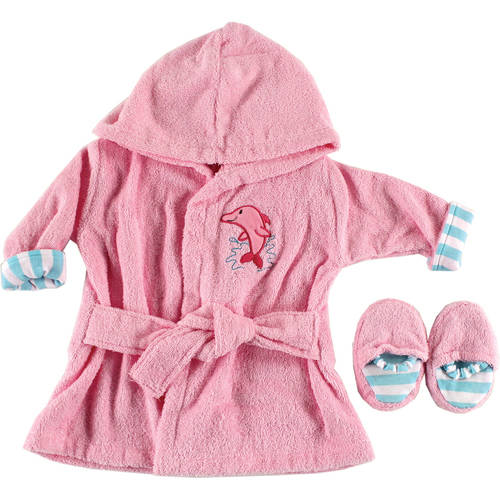 Luvable Friends Newborn Baby Girls Bath Robe and Slippers Set, Size/Age 0-9 Months
