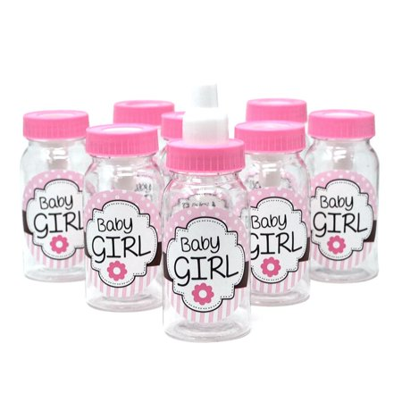 Baby Girl Plastic Baby Milk Bottle Favors, Pink, 4-1/2-Inch,