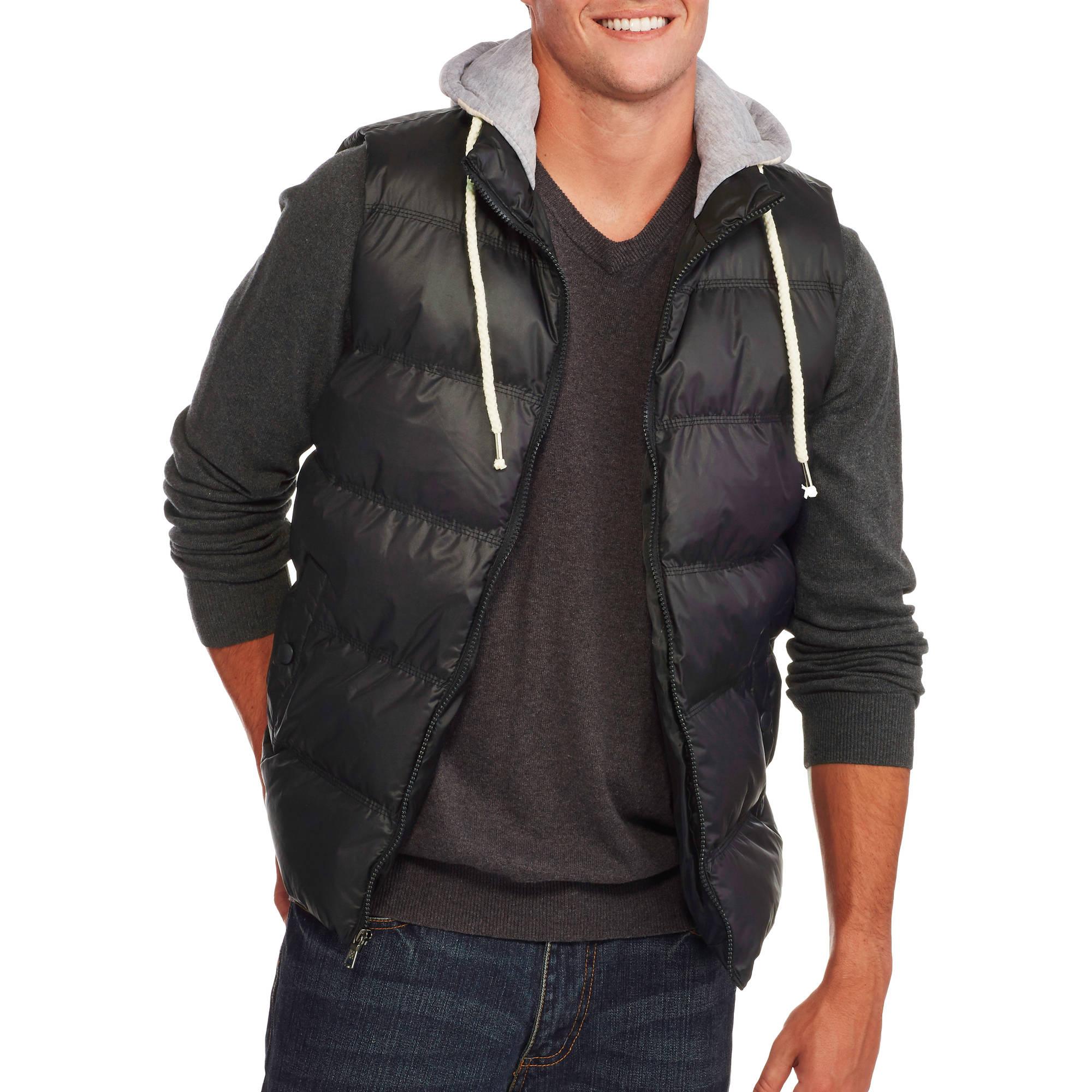 Men's Bubble Vest with Fleece Hood