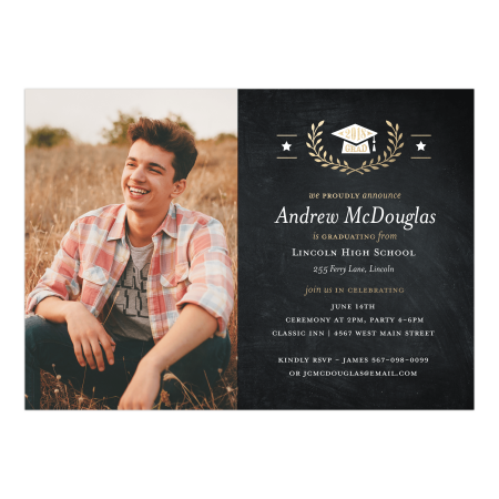 Golden Stars Graduation Invitation - Black And Gold Graduation