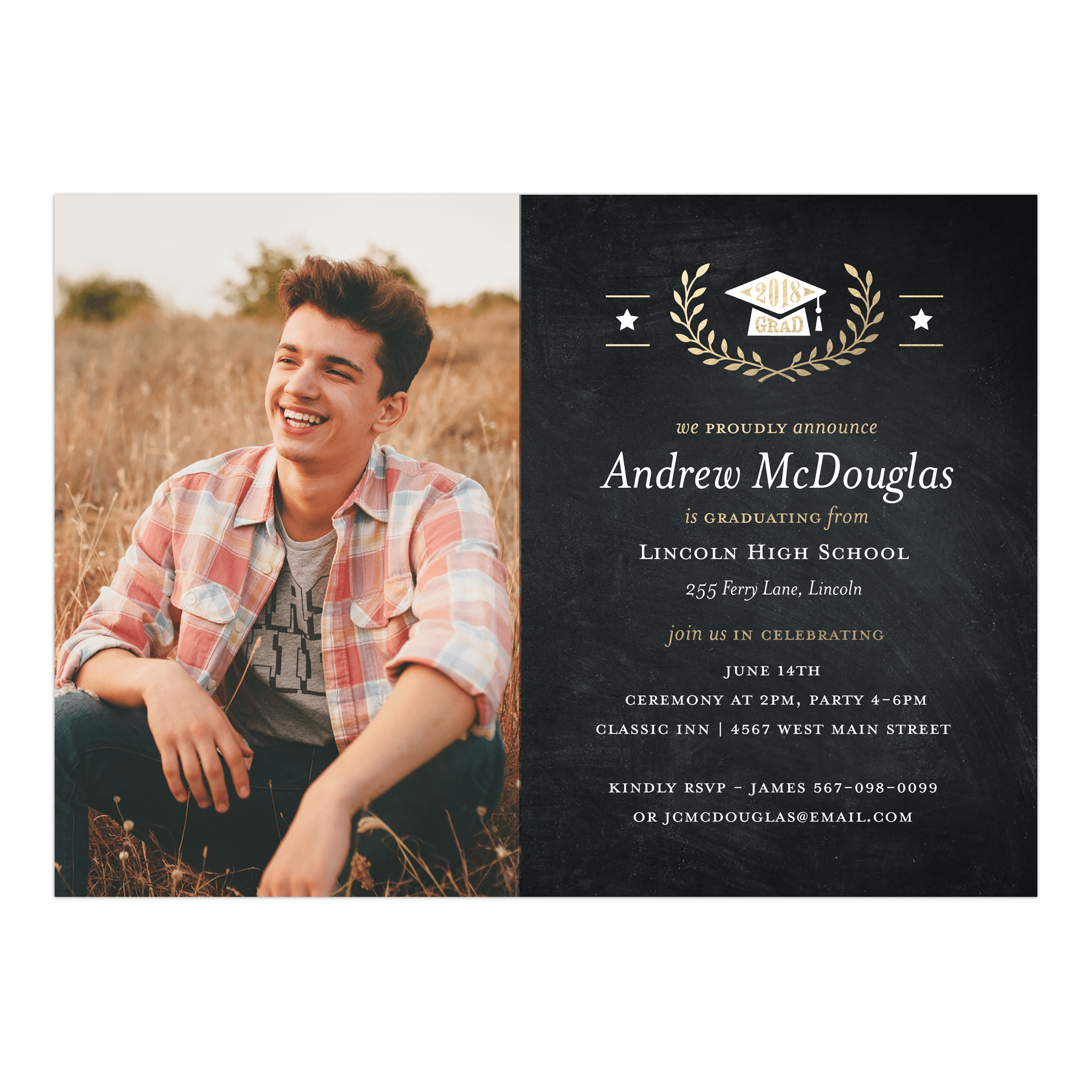 Golden Stars Graduation Invitation
