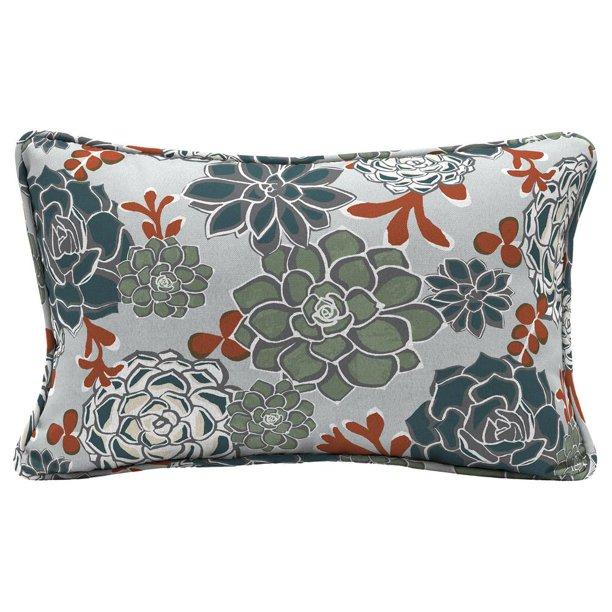 Hampton Bay Shadow Gray Succulents Lumbar Outdoor Throw Pillow 2 Pack Walmart Com Walmart Com