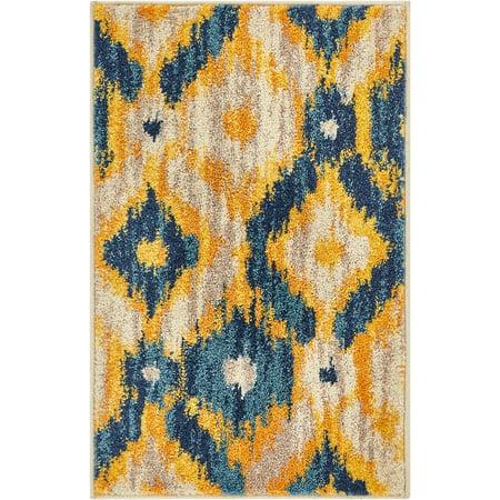 Well Woven Global Bohemian Ikat Blue & Yellow Vibrant Modern Tribal Pattern Area Rug 20x31 (20