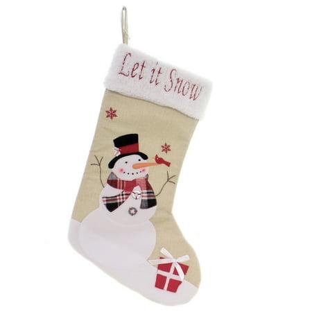 Christmas SNOWMAN/SANTA STOCKING Polyester Gifts Mantle Sg0219 Snowman ()