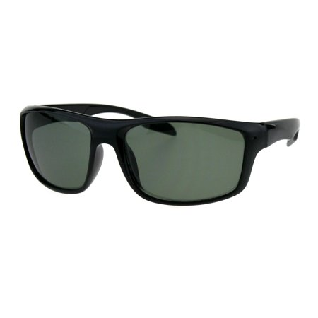 Tempered Glass Lens Mens Sporty Plastic Motorcycle Biker Rectangle Sunglasses Shiny Black Green ()