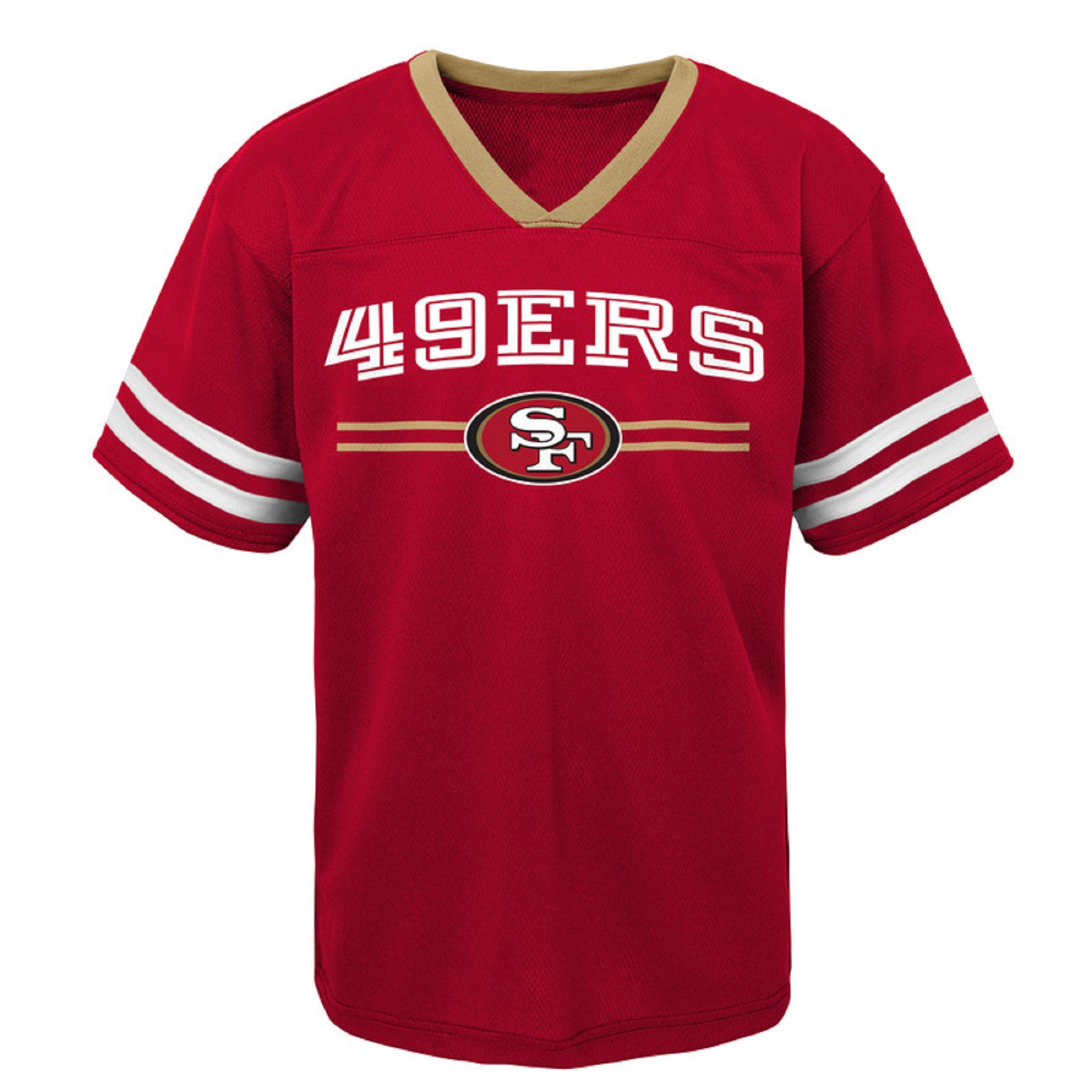 Youth Scarlet San Francisco 49ers Mesh V-Neck T-Shirt
